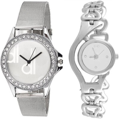 36e9f4af0487 blutech dk silver+silver jali stylish combo for womens and girls Watch -  For Girls