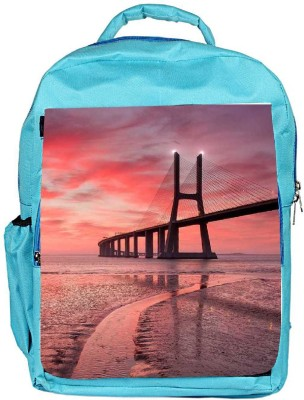Snoogg Eco Friendly Canvas Sunset Bridge Backpack Rucksack School Travel Unisex Casual Canvas Bag Bookbag Satchel 5 L Backpack(Blue)