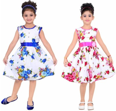 Unique Collection Girls Midi/Knee Length Casual Dress(Multicolor, Sleeveless)
