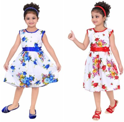 Unique Collection Girls Midi/Knee Length Party Dress(Multicolor, Sleeveless)