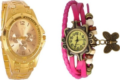 954ea1d24093 blutech full gold men   pink butterfly latest combo good gift for some one  Watch -