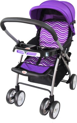 abdc kids BABY PRAM & STROLLER JET WAVE WITH REVERSIBLE HANDLEBAR(Multi, Purple)