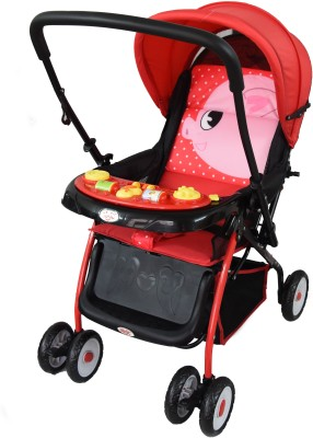 abdc kids Baby Pram & Stroller Crysta Red With Reversible Handlebar Pram(Multi, Red)