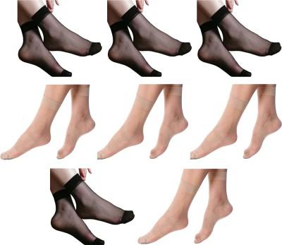 NAWAB Women Solid Ankle Length Socks(Pack of 8)