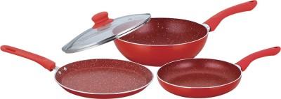 Wonderchef Wonderchef Royal Velvet Plus Set Red Induction Bottom Cookware Set(Aluminium, 3 - Piece) at flipkart