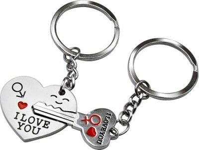 Faynci Valentine day Gift Love You Magnetic Heart Keychain Gifting for your loved one Key Chain