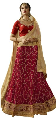Melluha Embroidered Semi Stitched Lehenga, Choli and Dupatta Set(Red)
