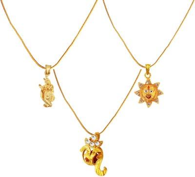 Menjewell Religious Jewellery Jay Shri Krishna ,Lord Surya & Rudraksha Studded OM Mini Combo Brass Pendant Set  available at flipkart for Rs.409