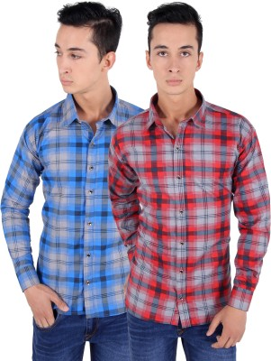 The Mens Stop Men's Checkered Casual Multicolor Shirt(Pack of 2)