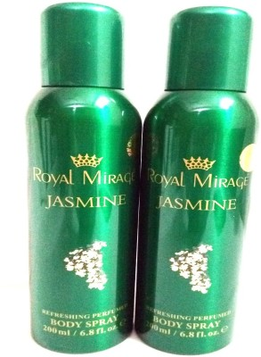 Royal Mirage Jasmine Body Spray  -  For Men & Women(200 ml, Pack of 2) Flipkart
