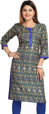 Meher Impex Women Floral Print Straight Kurta(Blue, Green)
