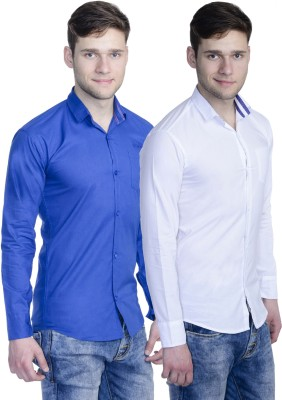 The Mens Stop Men's Solid Casual Multicolor Shirt(Pack of 2)