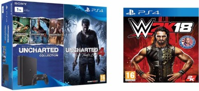 Sony PlayStation 4 (PS4) Slim 1 TB with Uncharted 4 and Uncharted Collection, W2K18(Jet Black)