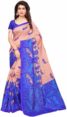 Ishin Printed Mysore Art Silk Saree(Orange, Blue)