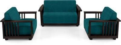 Urban Ladder Serra Wooden Fabric 2 + 1 + 1 Mahogany Sofa Set