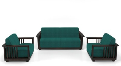 Urban Ladder Serra Wooden Fabric 3 + 1 + 1 Mahogany Sofa Set