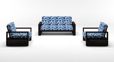 Urban Ladder Parsons Wooden Fabric 2 + 1 + 1 Mahogany Sofa Set