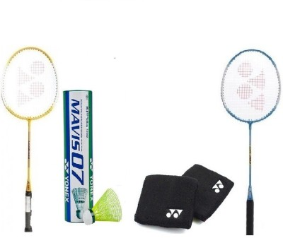 Yonex Combo of Five, Two GR 303 Badminton Racquet, One Box Mavis 07 Shuttle cock (1/2 Dozen) And Two Wrist Bands (Color On Availability)- G3 Strung(Multicolor, Weight - 90 g)  available at flipkart for Rs.1970