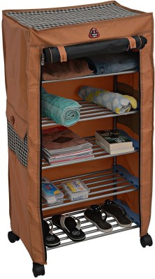 CMerchants BROWN Cabinet-4Layer Carbon Steel Collapsible Shoe Stand(Brown, 4 Shelves)