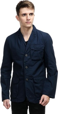 Kotty Solid Single Breasted Casual Men's Blazer(Dark Blue)  available at flipkart for Rs.1299