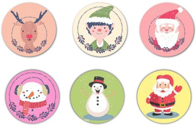 Giftsmate Round Wood Coaster Set(Pack of 6) at flipkart