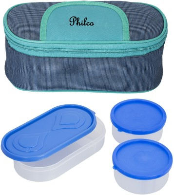 Lush Solace Blue Green Lunchbox 2 Plastic Container:1 Plastic Chapati tray 3 Containers Lunch Box