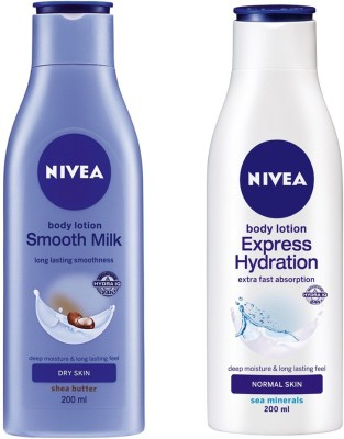 Nivea EXPRESS HYDRATION BODY LOTION 200 ML + SMOOTH MILK BODY LOTION 200 ML(200 ml)  available at flipkart for Rs.409