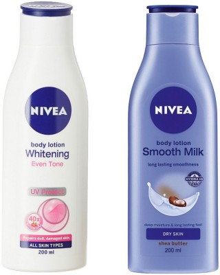 Nivea SMOOTH MILK BODY LOTION 200 ML + WHITENING EVEN TONE BODY LOTION 200 ML(200 ml)