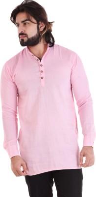VINTAGE LOOK Men's Solid Casual Mandarin Shirt