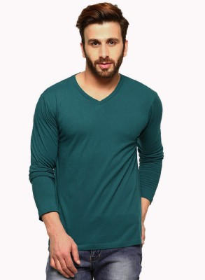Rodid Solid Men V-neck Green T-Shirt