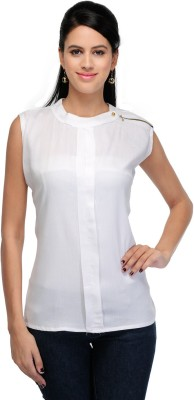 Crease   Clips Casual Sleeveless Solid Women White Top