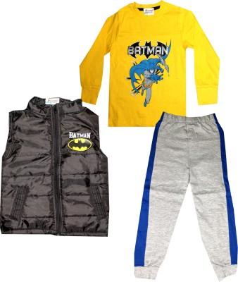 TrendiGo Fashion Boys Casual T-shirt Track Pants, Jacket(Yellow)