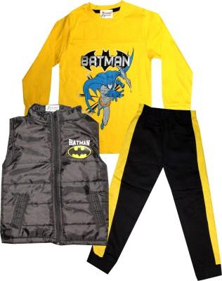 TrendiGo Fashion Boys Casual Jacket T-shirt, Track Pants(Black)