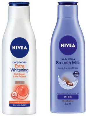 Nivea SMOOTH MILK NOURISHING BODY LOTION 200 ML + EXTRA WHITENING CELL REPAIR & UV PROTECT SPF 15 BODY LOTION 200 ML(200 ml)