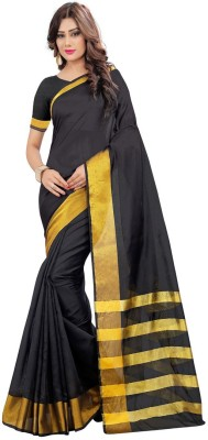 FabTag - Design Willa Printed, Solid Fashion Silk Cotton Blend Saree(Multicolor)