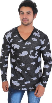 Direction of desire Printed Men V-neck Grey, Black T-Shirt