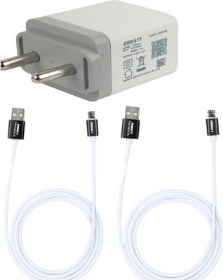 Orbatt 2.8A Fast Charger With Charge & Sync USB Cable For Mobile Charger(White, Cable Included)