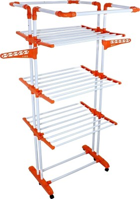 Truphe 3 poll Cloth Dryer Stand, Cloth Drier Stand with 7 years warranty, Made In India - Clothes Dryer King Jumbo, Truphe clothes drying rack foldable (Colour May Vary). Iron Floor Cloth Dryer Stand(Orange)