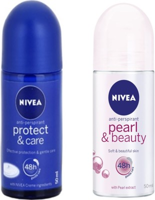 Nivea PEARL&BEAUTY ROLL ON DEODORANT 50 ML+PROTECT & CARE ROLL ON DEODORANT 50 ML Deodorant Roll-on  -  For Women(50 ml, Pack of 2)
