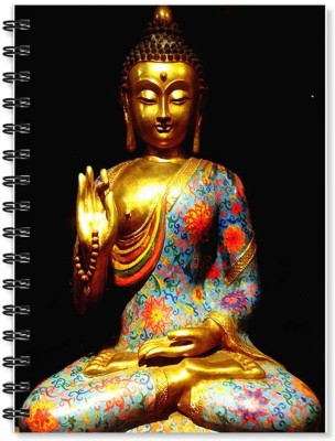 100yellow Notebook   Buddha Printed Wire Bound Spiral Notebook/Designer Covers Combined With Ruled Sheets Notebook/ Office Stationery/School Supplies/Diary (Black) A5 Notebook Ruled 170 Pages(Multicolor)