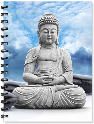 100yellow Notebook   Buddha Printed Wire Bound Spiral Notebook/Designer Covers Combined With Ruled Sheets Notebook/ Office Stationery/School Supplies/Diary (White) A5 Notebook Ruled 170 Pages(Multicolor)