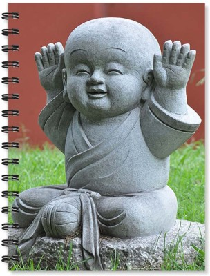 100yellow Notebook   Buddha Printed Wire Bound Spiral Notebook/Designer Covers Combined With Ruled Sheets Notebook/ Office Stationery/School Supplies/Diary (Multi) A5 Notebook Ruled 170 Pages(Multicolor)