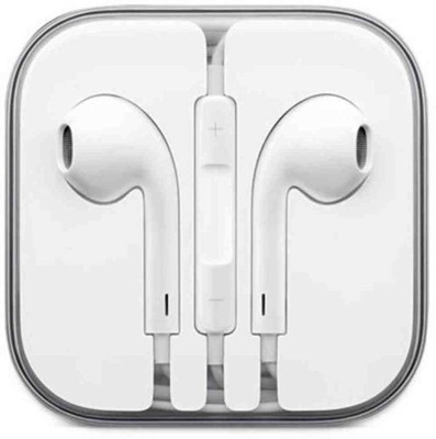 TopamTop Earphones Headphones Earpods Earbuds With Mic Wired Headset with Mic(White, In the Ear)