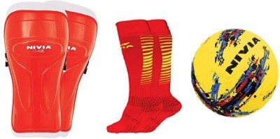 Nivia Combo of Three, one Pair of 'Classic' Shin Guard ,one Pair of 'Encounter' Socks and one 'Strom' Football- (Color On Availability) Football Kit  available at flipkart for Rs.964