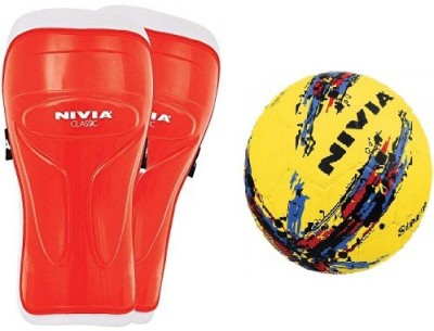 Nivia Combo of Two, one Pair of 'Classic' Shin Guard (Color On Availability) and one 'Strom' Football- Football Kit  available at flipkart for Rs.700