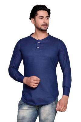 PP Shirts Men Solid Cape Top Kurta(Blue)