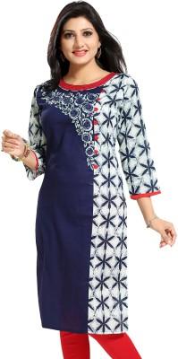 Meher Impex Women Printed Straight Kurta(Dark Blue, White)