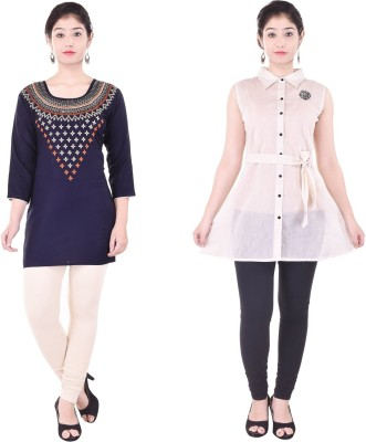 Desier Casual Embroidered, Solid Women Kurti(Pack of 2, Blue, White)