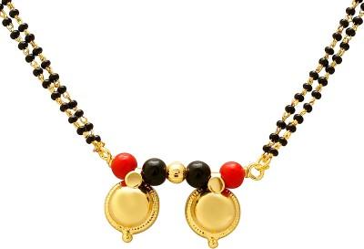 Memoir Gold plated Red and Black bead two wati Tanmaniya Brass Mangalsutra
