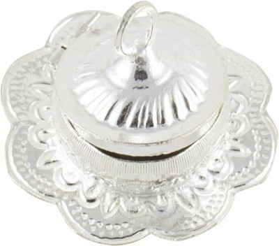 GoldGiftIdeas Flower Shape Kankavati/Kumkum Box With Lid, Pooja Items for Home Silver Plated Pooja & Thali Set(1 Pieces, Silver)  available at flipkart for Rs.175